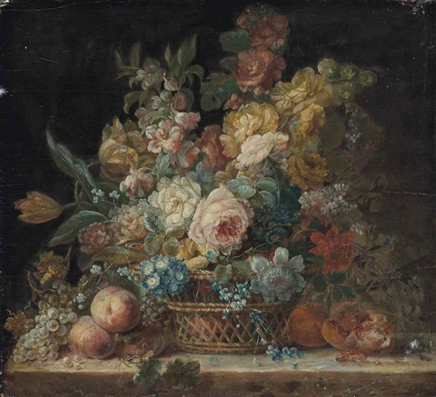 roses convolvulus parrot tulips and other flowers in a wicker basket with grapes peaches and a pomegranate on a stone ledge by cornelis van spaendonck