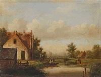 holländische flusslandschaft by carl eduard ahrendts