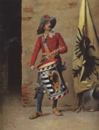 trommler in historischer tracht, vor einer mauer by lodovico de courten