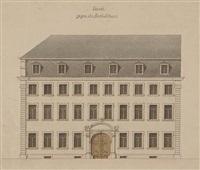 façade gegen die baurhofstrasse (+ architectural studies, pencil, verso) by friedrich von gartner