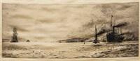 tramp steamer off the coast by william lionel wyllie