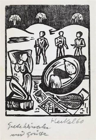 vorm zelt 38 jahresblatt ii kopf stilleben mit zolzfigur 3 works incl 1 lithograph various dates and sizes by erich heckel