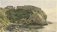 antikes gebäude an südlicher felsenküste by pierre-francois lehoux