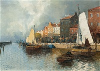 small harbour by georg fischhof