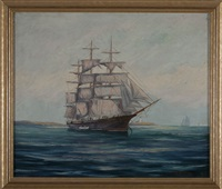 ship anchored in gloucester harbor by oliver e. albertson