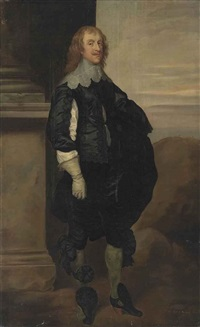 portrait of a gentleman, in a black slashed doublet and breeches, with a lace collar and gloves by a column, with a landscape beyond by sir anthony van dyck