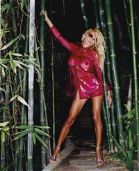 pam anderson, hollywood pink raincoat #1 by sante d'orazio