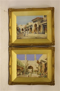 a street in cairo; a street in tunis (pair) by duncan webb