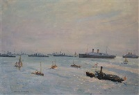 untitled (harbour with naval ships) by charles david jones bryant
