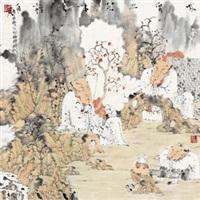 林泉品茗 镜心 设色纸本 (drinking tea) by jiang yong'an