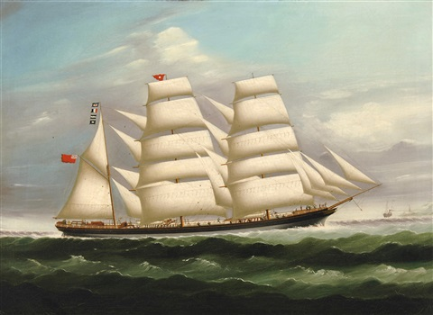 the three masted barque raigmullen at sea by continental school 19