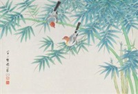 竹林双鸟 by liang ji