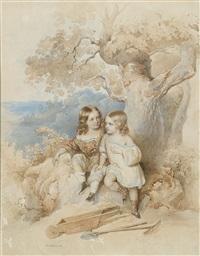 geschwisterkinder unter einer eiche sitzend, mit schubkarre, rechen und schaufel by josef kriehuber