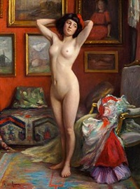 interior from a studio with a nude posing by michael adams