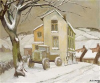 a landscape with truck in winter, roccho haute by isaac j. naarden