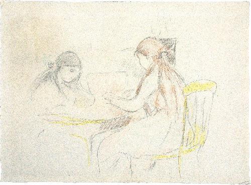 deux filles assises près d'une table by berthe morisot