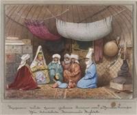 reiche kirgisin (sultanin?) mit sohn und dienerschaft in einem wohnzelt (kibitka) by verescagin vasilij vasil'evic