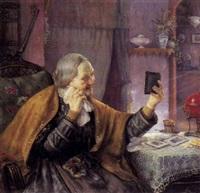 bedstemor betragter sine fotografier by otto goldmann