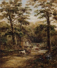 cattle by a cottage in a wood by henry (sr.) earp