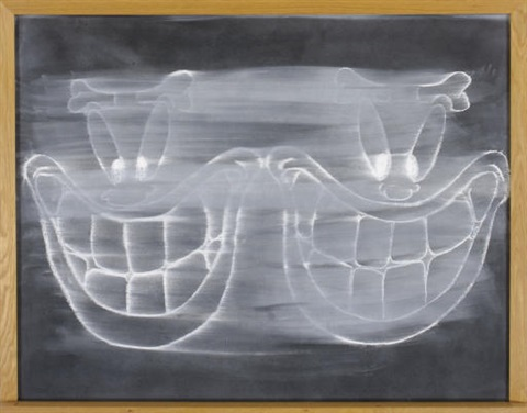 black chalkboard double grin by gary simmons