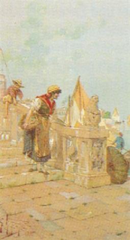 1888 | Giuseppe Vizzotto Alberti, Scena veneziana presso un canale