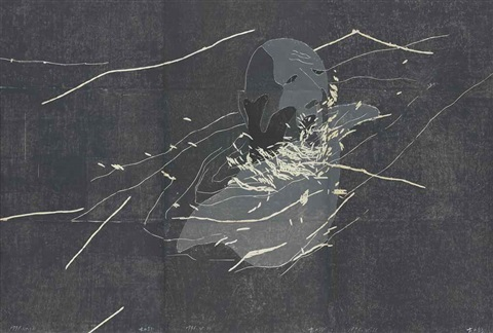 no. 16 (3 works) (triptych) by fang lijun