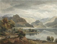 grange fell and castle crag in borrowdale with part of keswick lake by ramsay richard reinagle