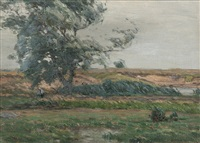 barbizon-style landscape by gustave adolph wiegand