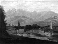 schweizer stadtansicht vor bergiger kulisse by isidore dagnan