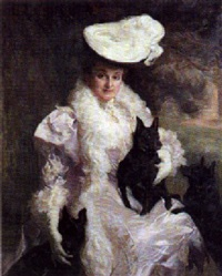 portrait of a lady in a mauve and white dress with her favourite dogs by john henry frederick bacon