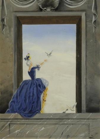 femme aux colombes dans un décor architecturé by rené gruau