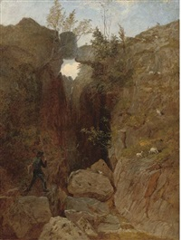 the artist crossing a ravine by andrew maccallum