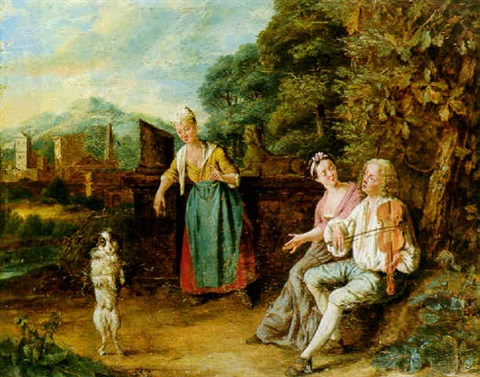 figures in a landscape watching a fiddler and his dancing dog by josef van aken