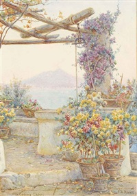 acquafredda, lake como (illustrated) and the well, villa cesina, capri (pair) by ernest arthur rowe
