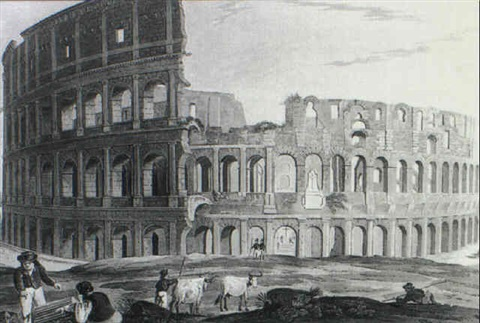 coliseum 23 similar in a volume titled antiquities of rome med w hand coloring by henry abbot