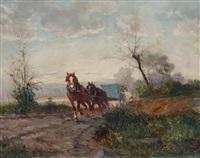 cavalli e carretto nella campagna by leonardo roda
