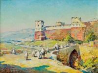 port devant les remparts de kénitra, maroc by marius hubert-robert