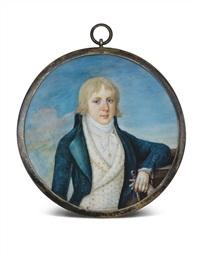portrait de louis charles d'orléans, comte de beaujolais en habit bleu, gilet blanc à broderie, chemise blanche, cheveux au naturel, tenant une canne, devant fond de ciel; monture en vermeil by conty