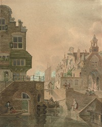 a dutch town, said to be utrecht, showing buildings along a canal by jan hendrik verheyen