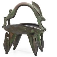 Footed raku-fired Hare Basket