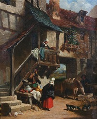 continental scene with figures and stall by a gateway by auguste aristide fernand constantin