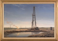 oil drilling scene: texas-early morning by arthur weaver