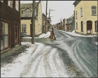 une journée de mars, rue christophe colomb coin de victoria, quebec by john geoffrey caruthers little