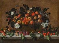 stillleben mit früchtekorb und blumen by agostino verrocchi