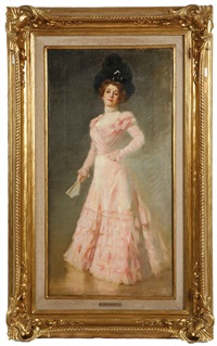 portrait of an elegant lady in pink dress holding a fan by rene arigdor