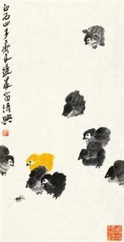 雏鸡图 镜片 设色纸本 by qi liangchi