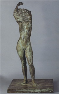 standing female nude undressing (mujer divistiendose) by darío morales