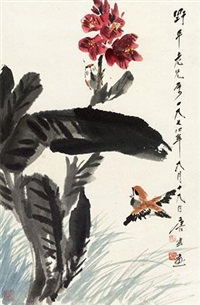 芭蕉春雀 by tang yun