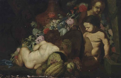 putti beside an urn with flowers melons and grapes by abraham brueghel