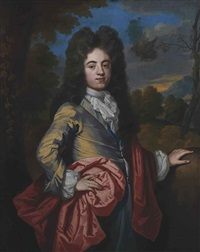 portrait of sir john harpur, 4th baronet (1679-1741), three-quarter-length, in a yellow coat, with a red wrap, in a landscape by john kerseboom